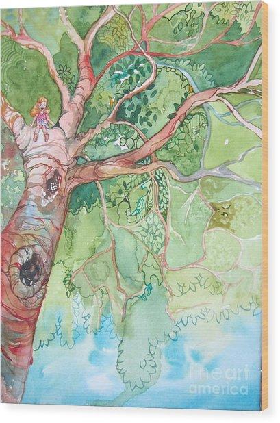 Climbing High Wood Print by Maya Simonson