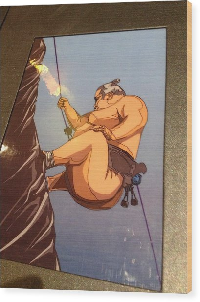 Climbing Sumo Wood Print by Ben Ong