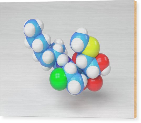 Clindamycin Antibiotic Molecule Wood Print by Indigo Molecular Images