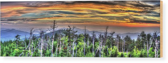 Clingmans Sunset Panoramic Wood Print