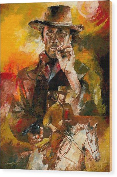Clint Eastwood Wood Print by Christiaan Bekker