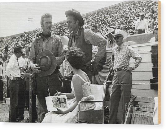 Clint Eastwood  Eric Fleming Characters Rowdy Yates Salinas California 1962 Wood Print