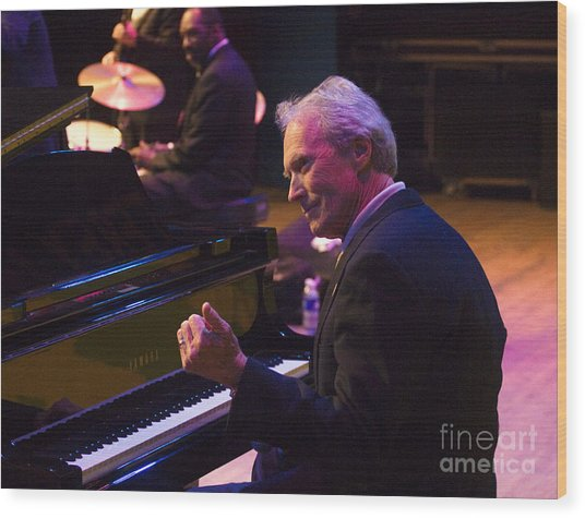 Clint Eastwood On Piano In Monterey Wood Print