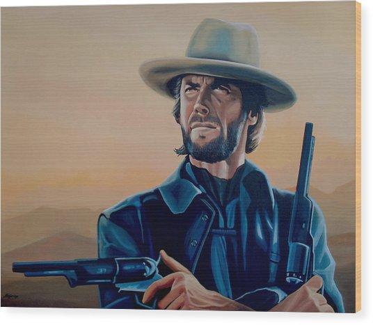 Clint Eastwood Painting Wood Print