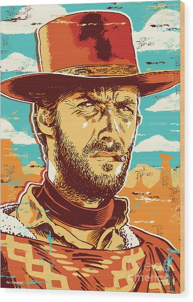 Clint Eastwood Pop Art Wood Print