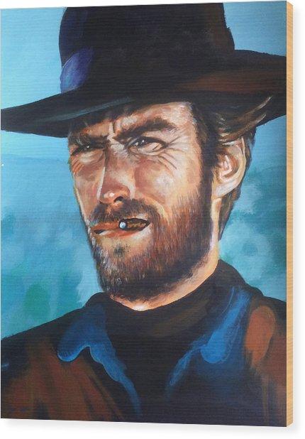 Clint Eastwood Portrait Wood Print by Robert Korhonen