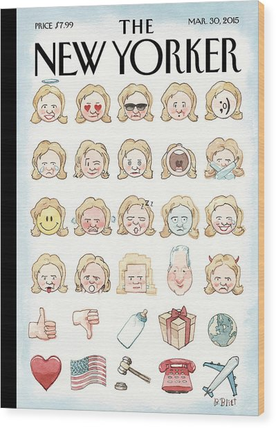 Clinton's Emoji Wood Print by Barry Blitt