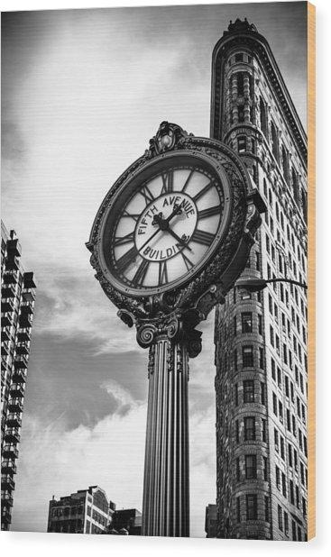 Clock Of Fifth Avenue Building Wood Print