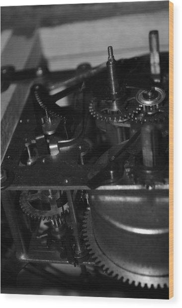 Clocks Black And White Wood Print