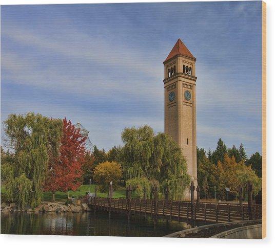 Clocktower Fall Colors Wood Print