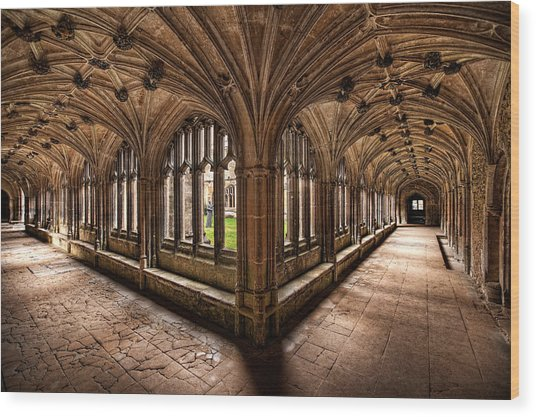 Cloisters At Lacock Abbey Wood Print