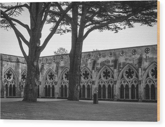 Cloisters Of Salisbury Wood Print by Ross Henton