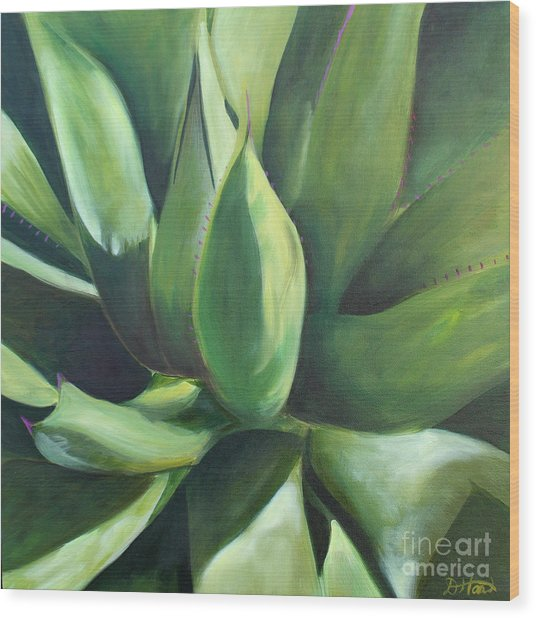 Close Cactus II - Agave Wood Print