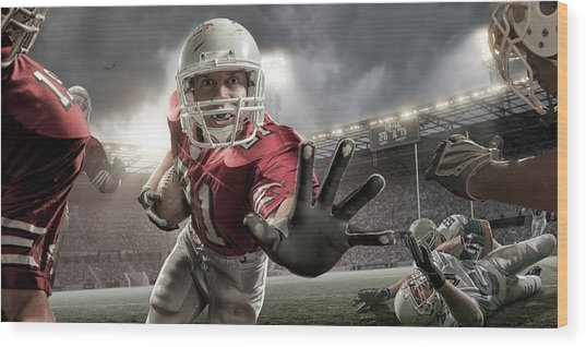 Close Up American Football Action Wood Print by Peepo