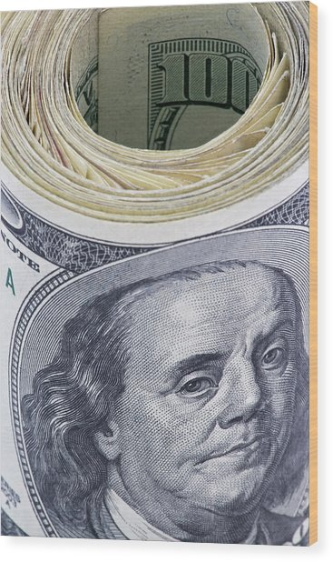 Close-up Of A Roll Of Us $100 Bills Wood Print by Jaynes Gallery