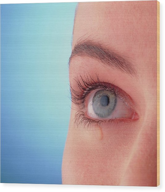 Close-up Of A Woman's Blue Eye With A Tear-drop Wood Print by Phil Jude/science Photo Library