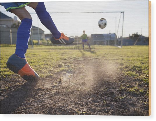 Close Up Of Boy Taking Soccer Penalty Wood Print by Alistair Berg