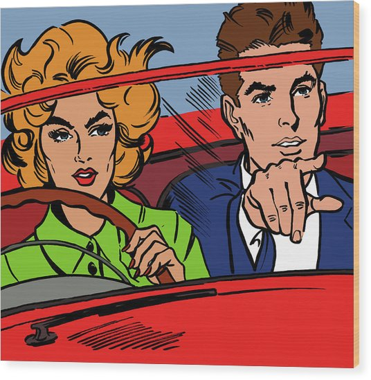 Close Up Of Couple Driving Red Wood Print by Jacquie Boyd