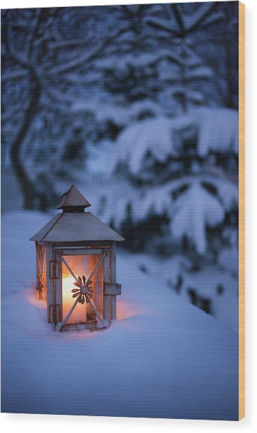 Close Up Of Glowing Lantern In Snow Wood Print by Cultura Rm Exclusive/christoffer Askman
