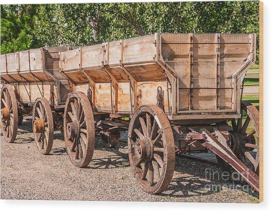 Close-up Of Grain Wagons Wood Print