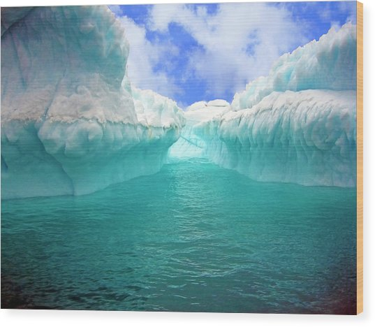 Close Up Of Iceberg With Fluted Wood Print