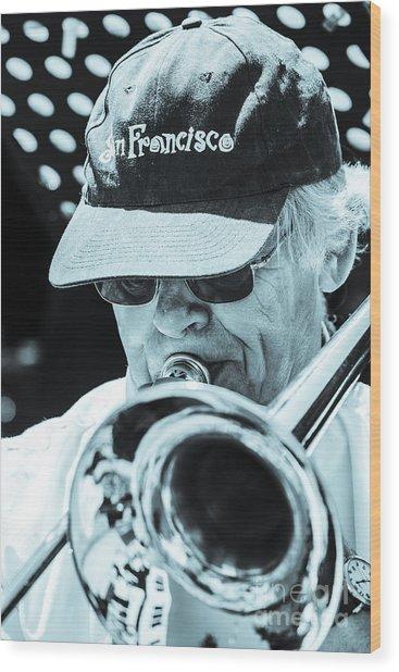 Close Up Of Male Trombone Player In Baseball Cap Wood Print