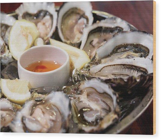 Close-up Of Oysters Served In Plate Wood Print by Kelvin Kam / Eyeem