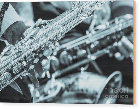 Close Up Of Saxophonist Fingering Wood Print