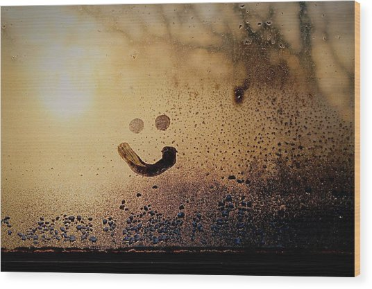 Close-up Of Smiley On Condensed Glass Wood Print by Lacy Custance / Eyeem