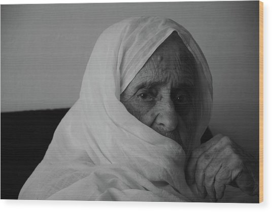 Close-up Portrait Of Senior Woman In Wood Print by Nabeel Yakzan / Eyeem