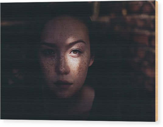Close-up Portrait Of Woman Wood Print by Jonas Hafner / EyeEm