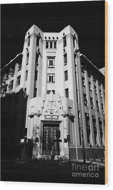 closed branch of banco estado the state bank Santiago Chile Wood Print by Joe Fox