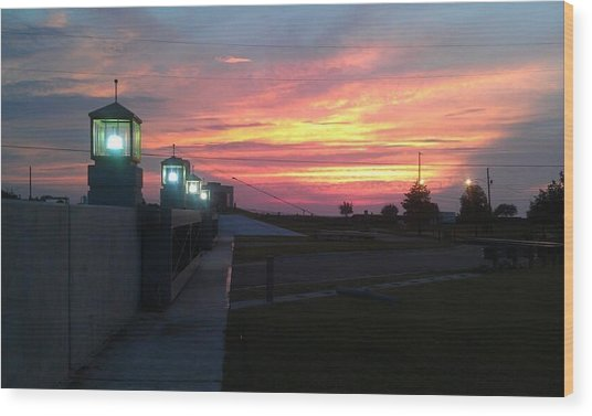 Closed Flood Gates Sunset Wood Print