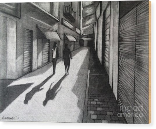 Closed Shops Wood Print by Kostas Koutsoukanidis