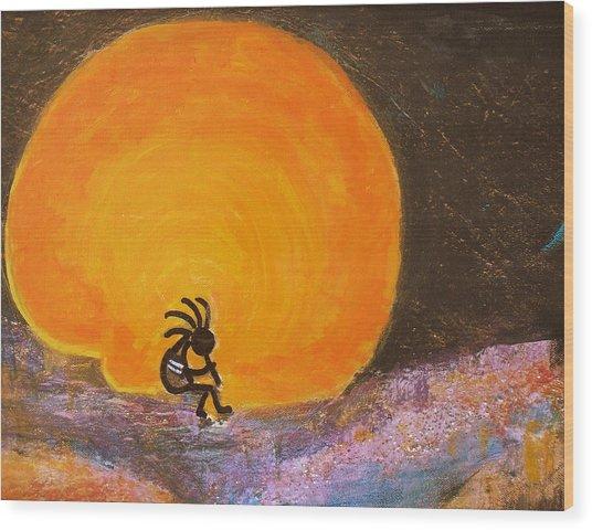 Closer View Kokopelli On A Marmalade Moon Night Wood Print by Anne-Elizabeth Whiteway