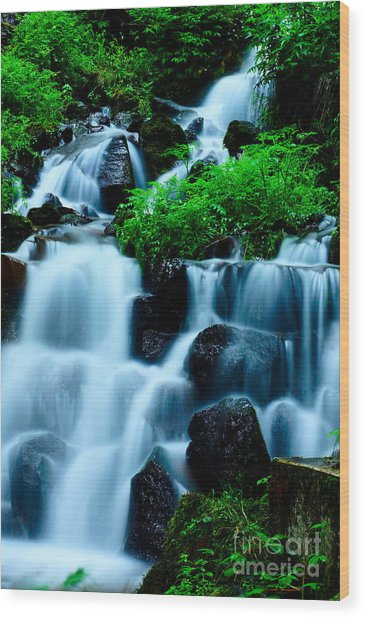 Closeup Of Beautiful Waterfall In Karuizawa Japan Wood Print