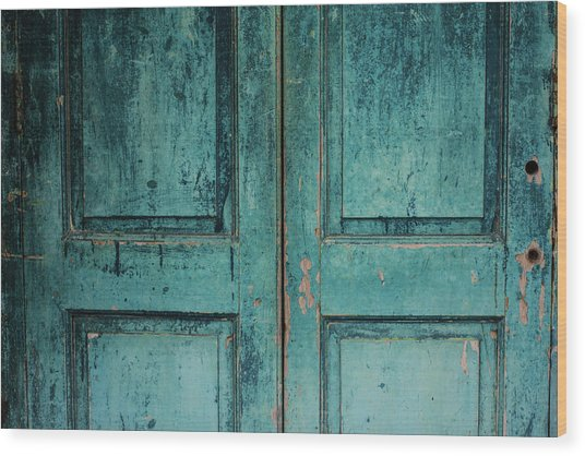 Closeup Of Blue Turquoise Old Textured Wood Print