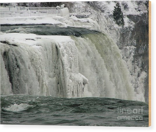 Wood Print featuring the photograph Closeup Of Icy Niagara Falls by Rose Santuci-Sofranko