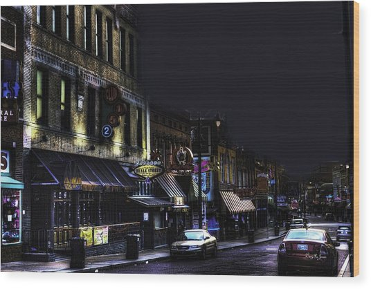Memphis - Night - Closing Time On Beale Street Wood Print