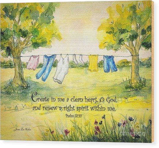 Clothesline Psalm 51 Wood Print