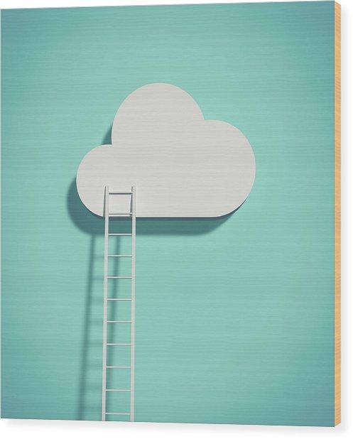 Cloud And Ladder Wood Print by Yagi Studio