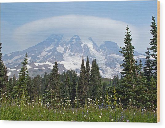 Cloud Capped Rainier Wood Print
