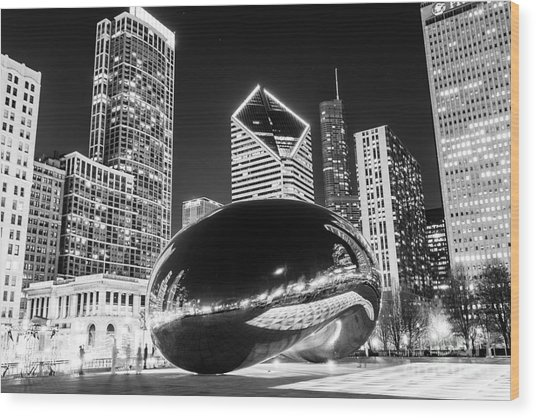 Cloud Gate Chicago Bean Black And White Picture Wood Print by Paul Velgos