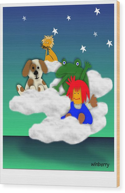 Cloud Kids Wood Print by Bob Winberry