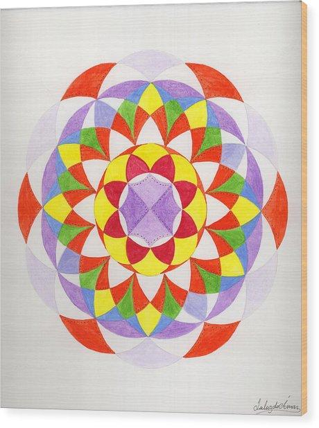 Cloud Mandala Wood Print by Silvia Justo Fernandez
