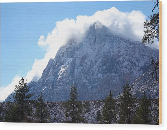 Cloud Mountain Wood Print