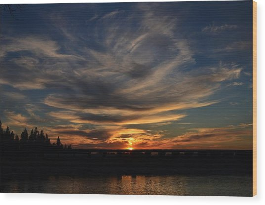 Cloud Swirl Sunset Wood Print