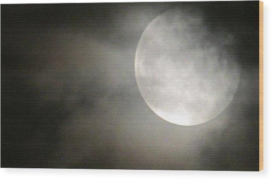 Clouded Moon Wood Print
