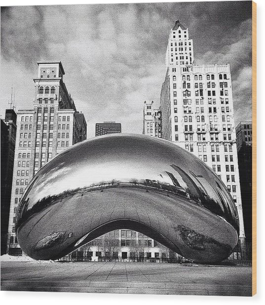 Chicago Bean Cloud Gate Photo Wood Print by Paul Velgos
