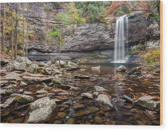Cloudland Canyon Falls Wood Print by Scott Moore